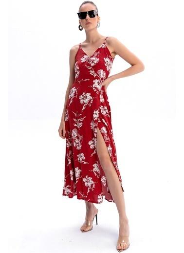 Emjey Askılı Kruvaze Elbise Kırmızı